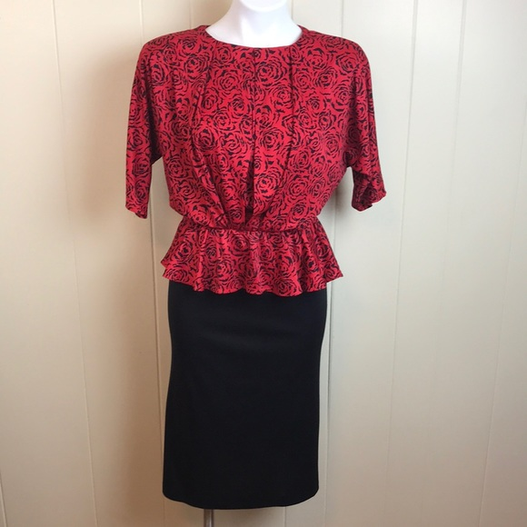 Vintage Dresses & Skirts - Vintage 70s/80s Disco Batwing Office Dress